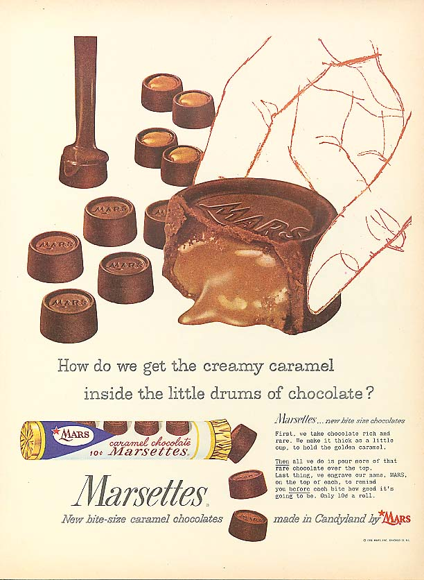 Image for How do we get the creamy caramel inside the chocolate? Marsettes ad 1958