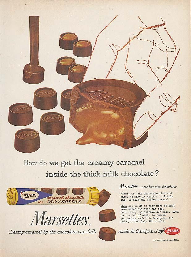 How do we get caramel inside? Marsettes candy ad 1958