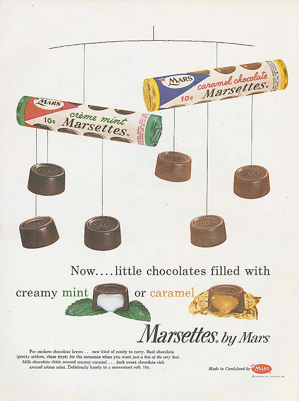 Image for Crème Mint & Caramel Chocolate Marsettes candy ad 1959