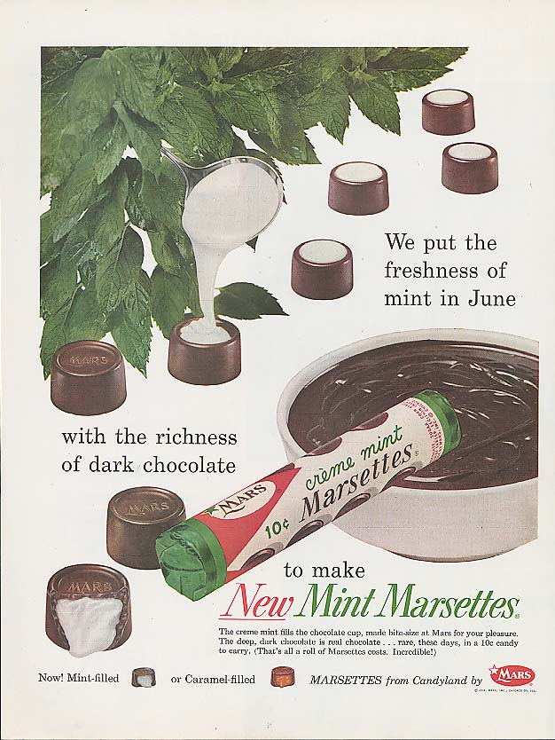 Image for Freshness of mint in Crème Mint Marsettes candy ad 1959