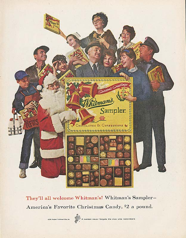 Image for All welcome Whitman's Sampler chocolates Xmas ad 1961