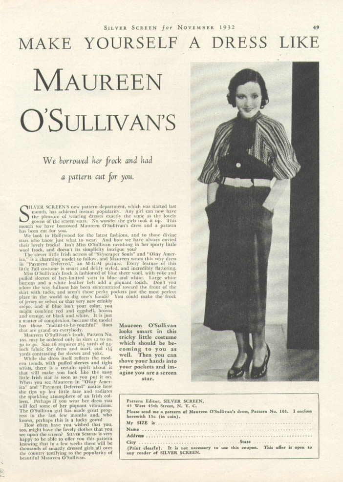 Image for Maureen O'Sullivan for Silver Screen Patterns ad 1932