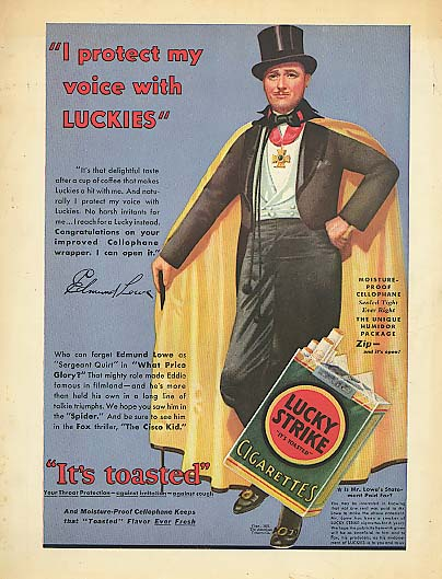 Edmund Lowe for Lucky Strike Cigarettes ad 1932