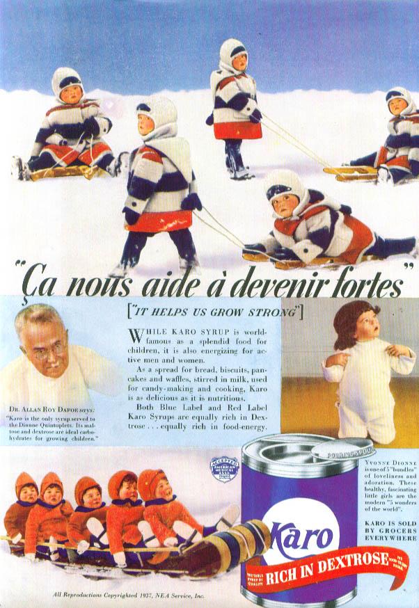 Image for Dionne Quintuplets & Dr Dafoe for Karo Syrup ad 1937