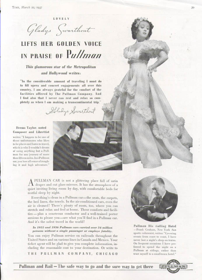 Image for Opera star Gladys Swarthout for Pullman ad 1937
