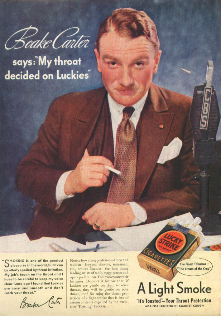 Image for CBS Newsman Boake Carter for Lucky Strike ad 1937