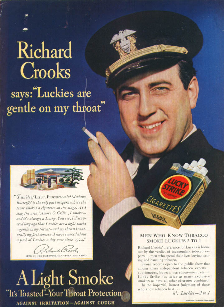 Image for Opera star Richard Crooks for Lucky Strike ad 1937