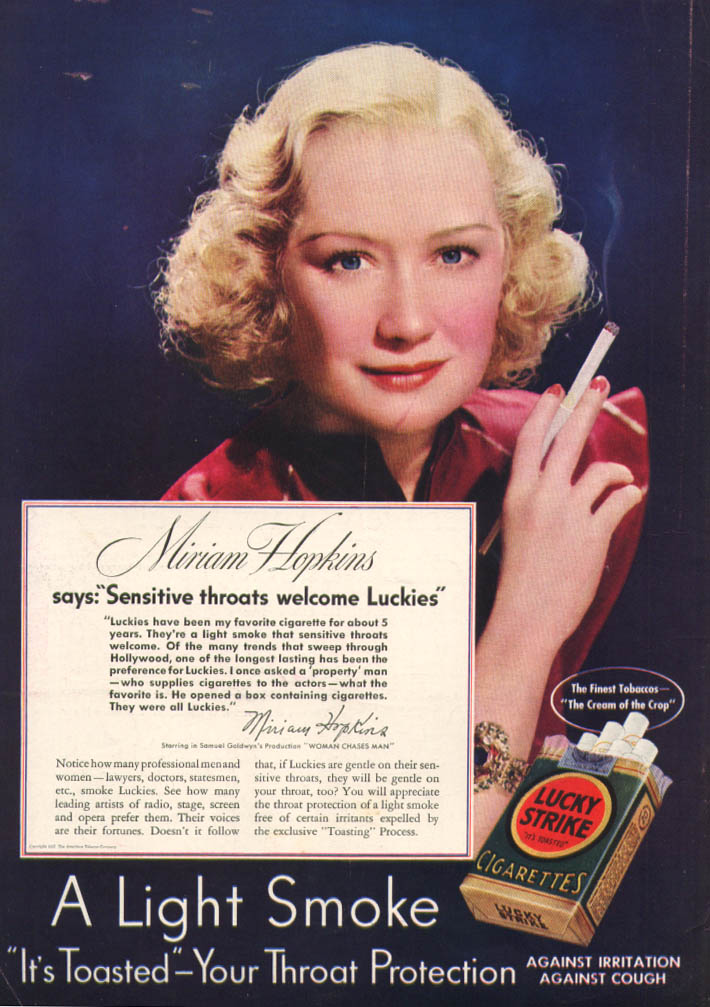 Image for Actress Miriam Hopkins for Lucky Strike ad 1937