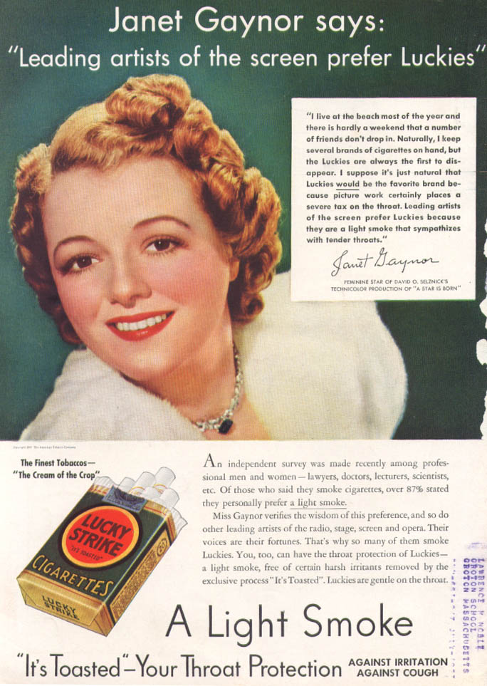 Actress Janet Gaynor for Lucky Strike ad 1937