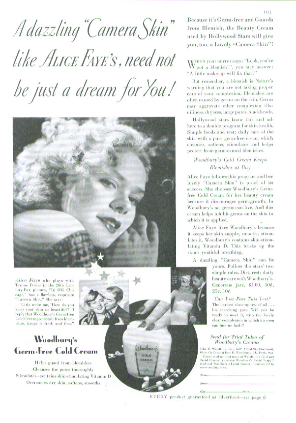 Image for Alice Faye for Woodbury's Cold Cream ad 1938