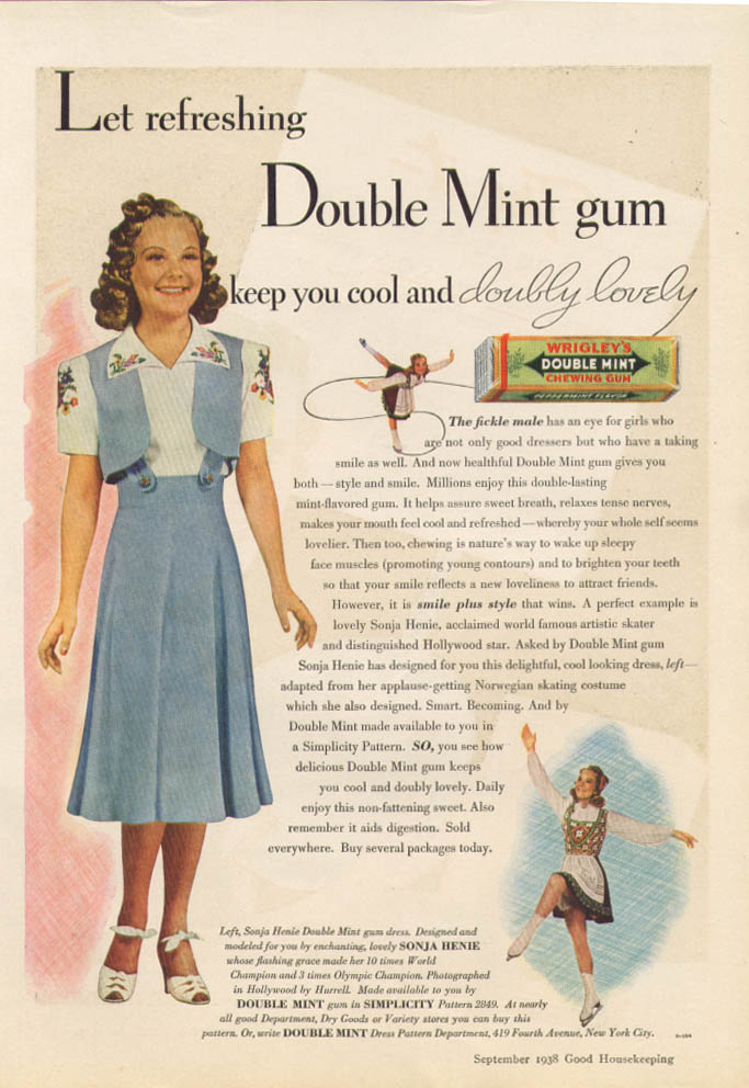 Image for Sonja Henie for Wrigley's Doublemint Gum ad 1938