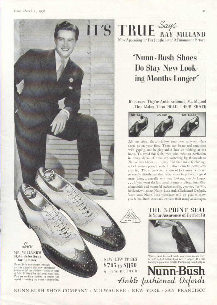 Image for Ray Milland for Nunn-Bush Oxfords ad 1938