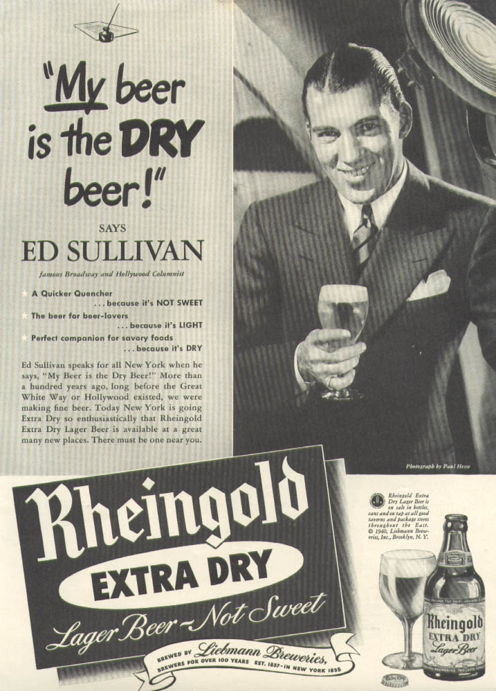 Image for Ed Sullivan for Rheingold Extra Dry Beer ad 1940 New Yorker