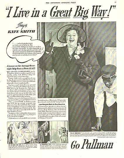 Image for I Live in a Great Big Way! Kate Smith for Pullman Railroad Cars ad 1940