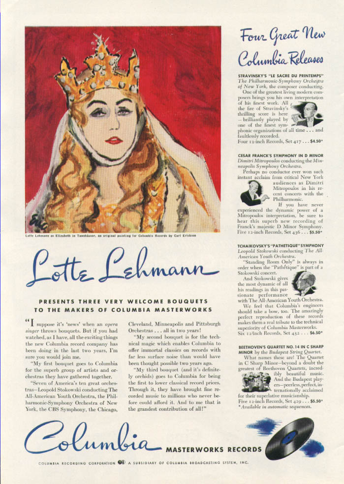 Image for Lotte Lehmann for Columbia Masterworks Records ad 1941