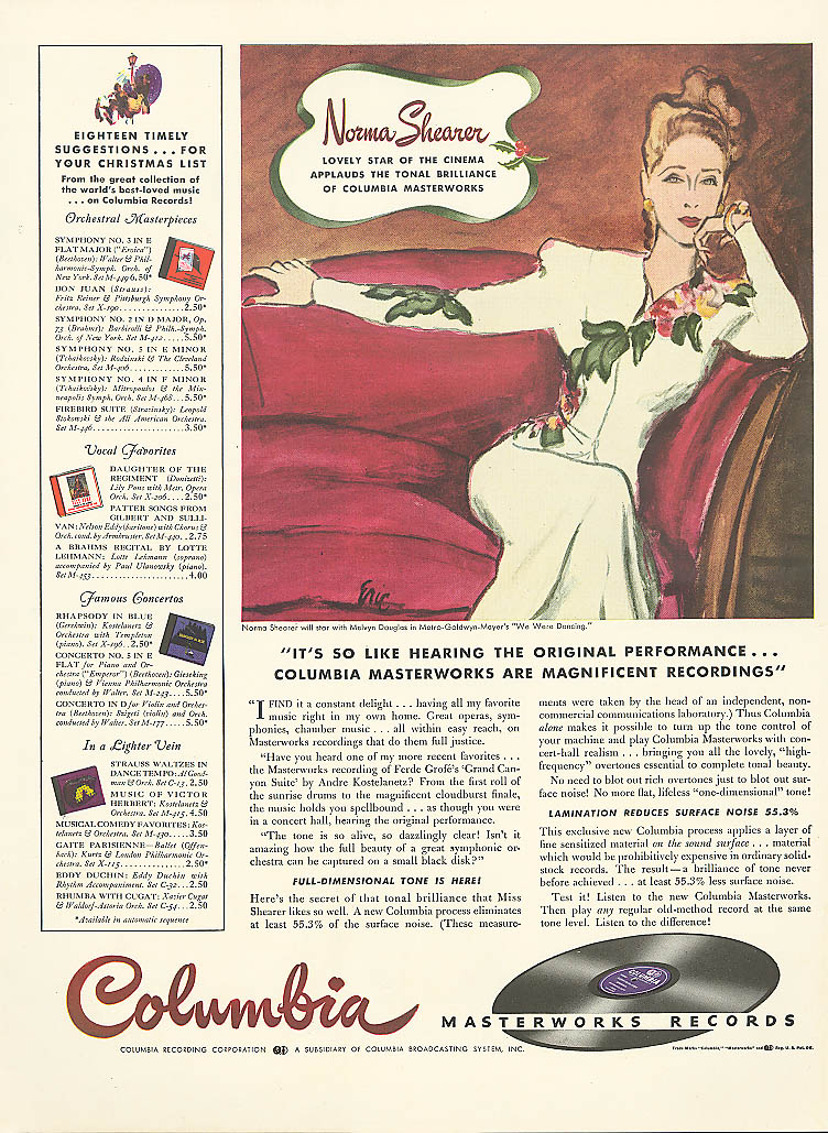 Image for Norma Shearer for Columbia Masterworks Records ad 1941 Life