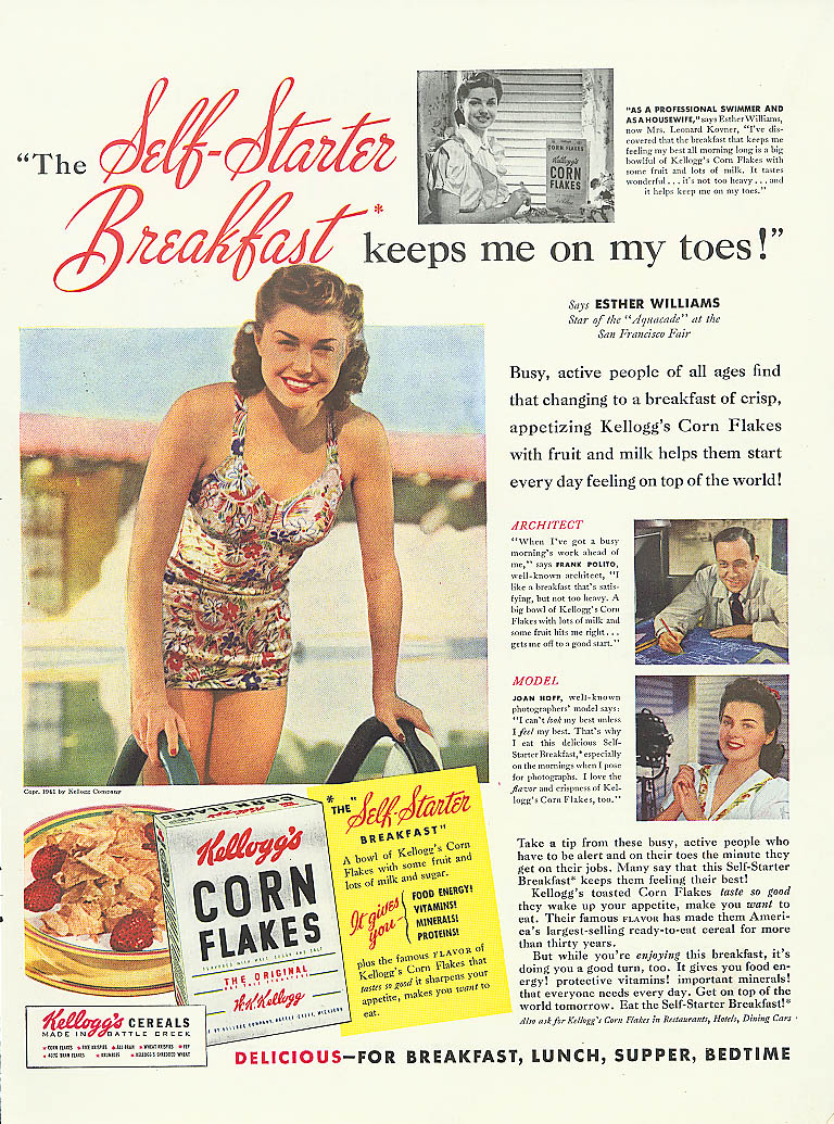 Image for Esther Williams for Kellogg's Corn Flakes ad 1941