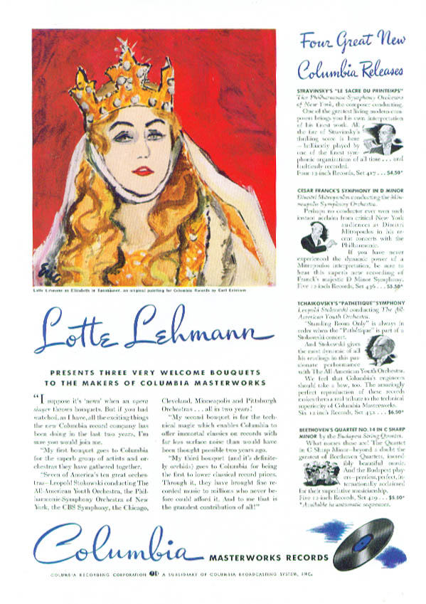 Image for Lotte Lehmann for Columbia Masterworks Records ad 1941 Time
