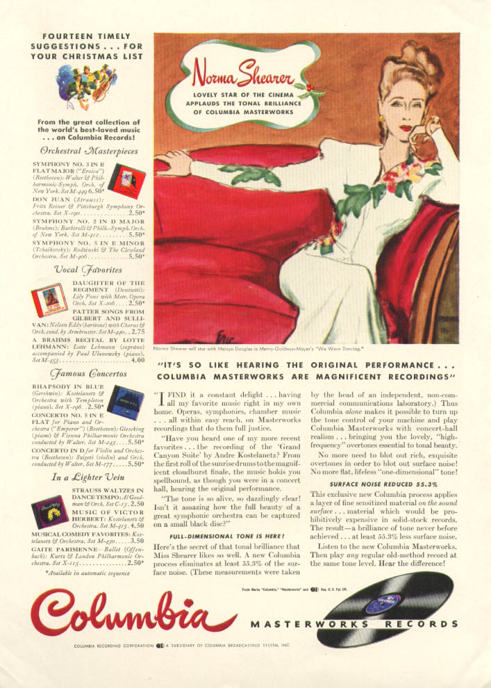 Image for Norma Shearer for Columbia Masterworks Records ad 1941 New Yorker