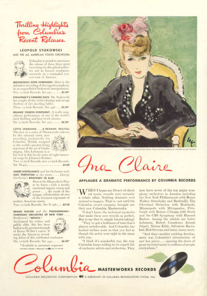 Image for Ina Claire for Columbia Masterworks Records ad 1941