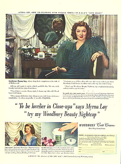 Image for Myrna Loy for Woodbury Cold Cream Beauty Nightcap ad 1941