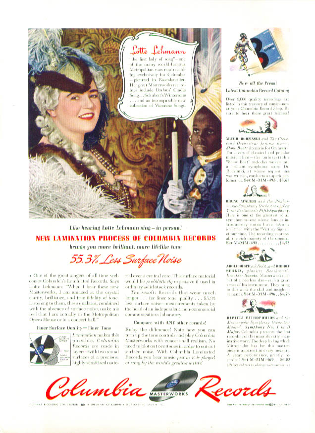 Image for Lotte Lehmann for Columbia Masterworks Records ad 1942