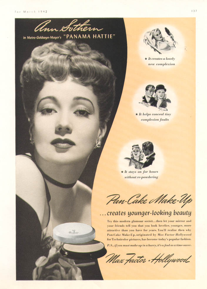 Image for Ann Sothern for Max Factor Pan-Cake Make-Up ad 1942
