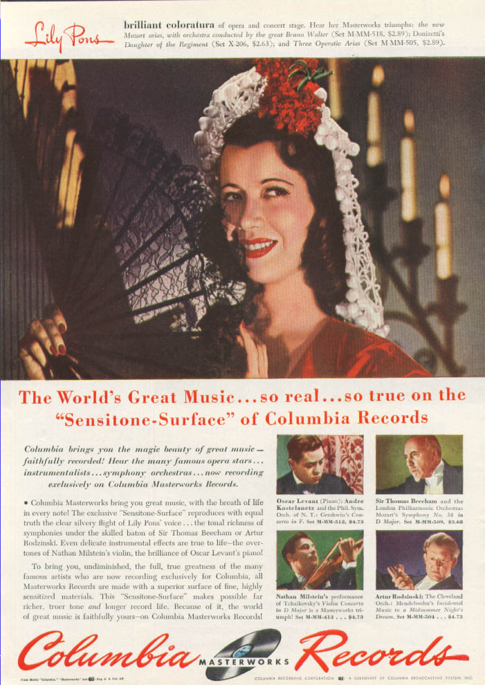 Image for Lily Pons for Columbia Masterworks Records ad 1942 Time