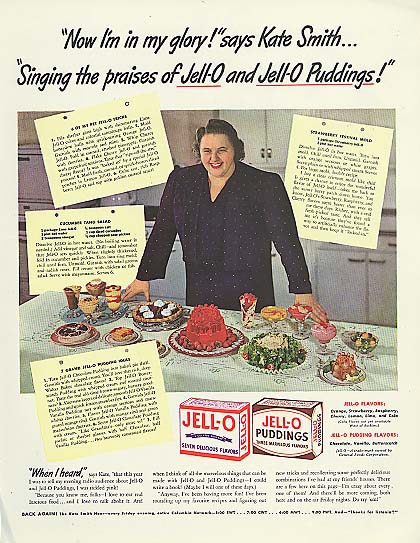 Image for I'm in my glory! Kate Smith for Jell-O and Jell-O Pudding ad 1942