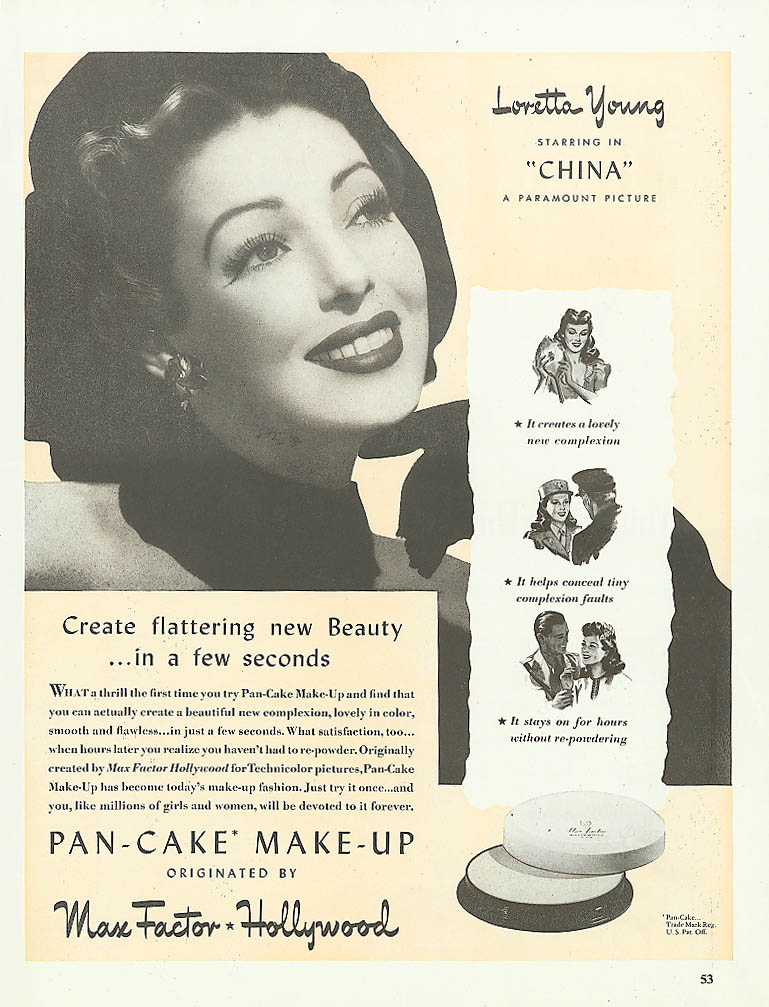Image for Loretta Young for Max Factor Pan-Cake Make-Up ad 1943
