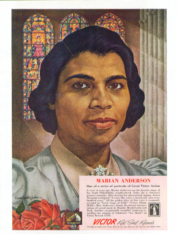 Image for Marian Anderson for RCA Victor Red Seal records ad 1943