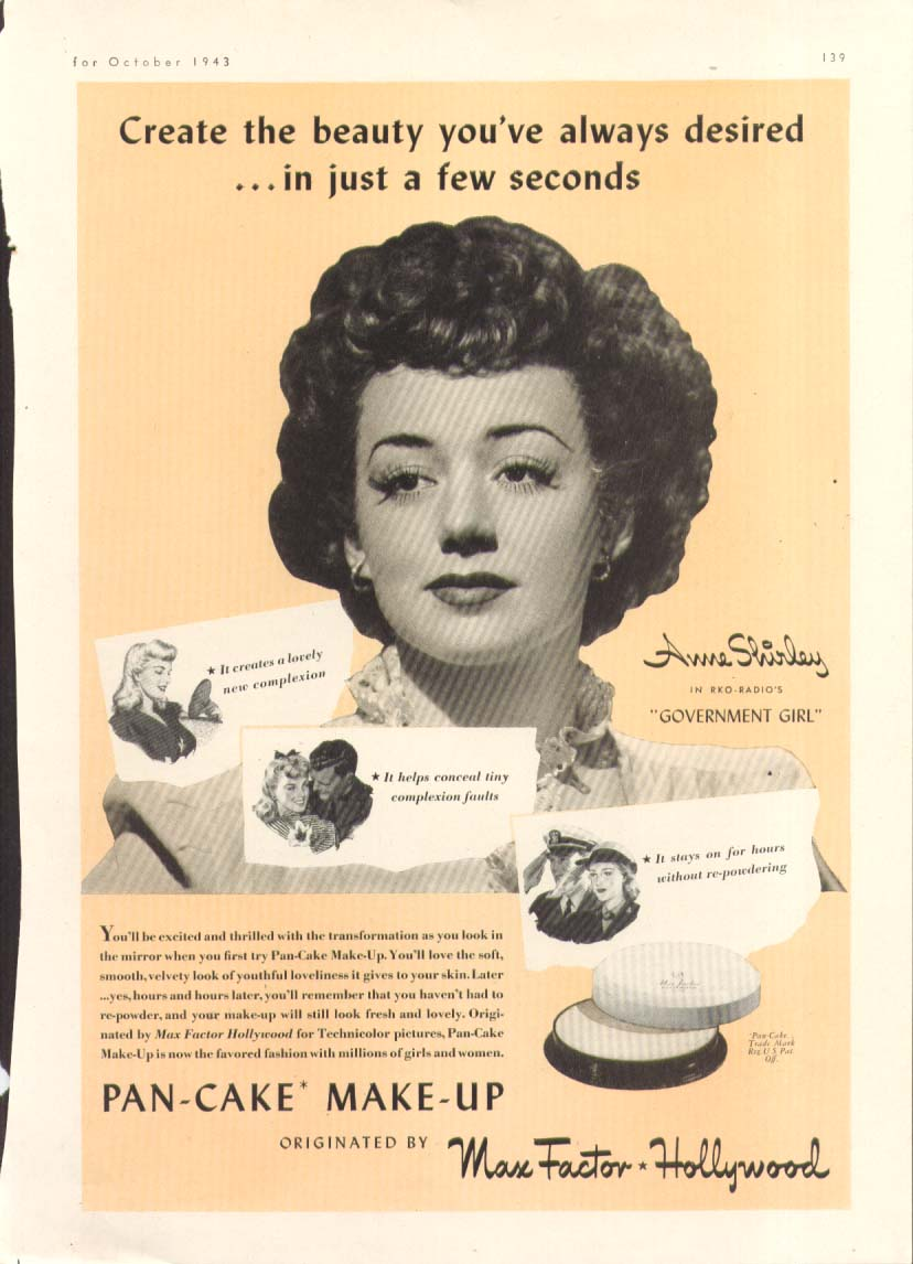 Anne Shirley for Max Factor Pan-Cake Make-Up ad 1943