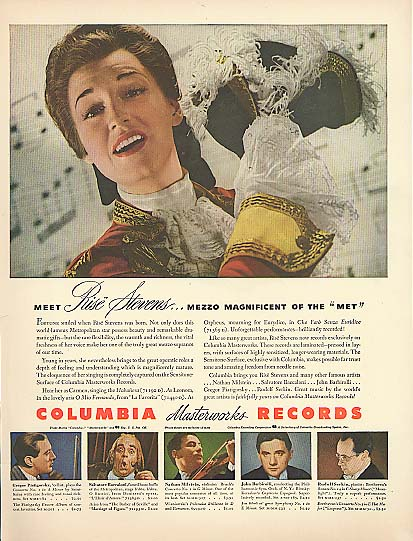 Image for Mezzo Soprano Rise Stevens for Columbia Masterworks Records ad 1943