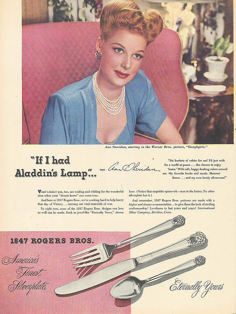 Image for Ann Sheridan for 1847 Rogers Bros Silverware ad 1944