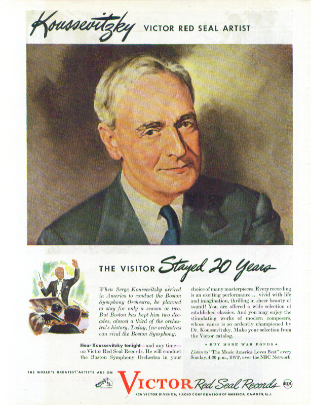 Image for Serge Koussevitsky RCA Victor Red Seal Records ad 1944