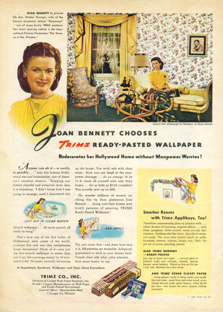 Image for Joan Bennett for Trimz Ready-Pasted Wallpaper ad 1944