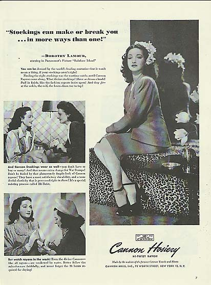 Image for Dorothy Lamour for Cannon Hosiery Stockings ad 1944