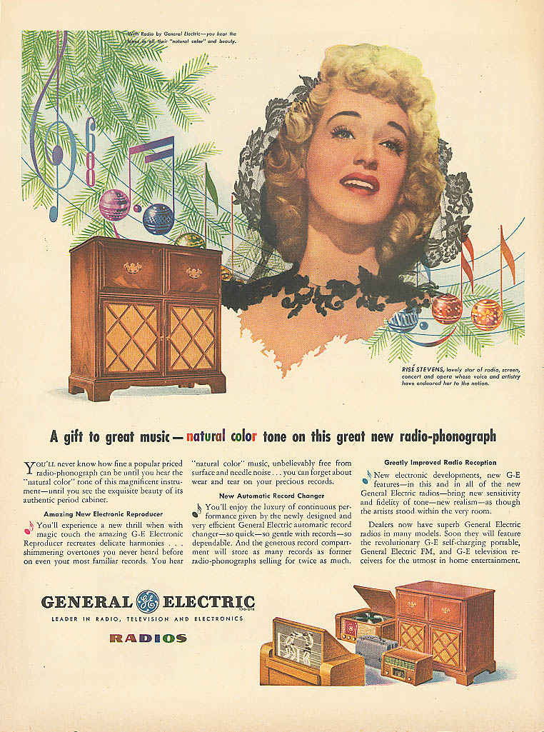 Image for Risë Stevens for General Electric Radios ad 1945