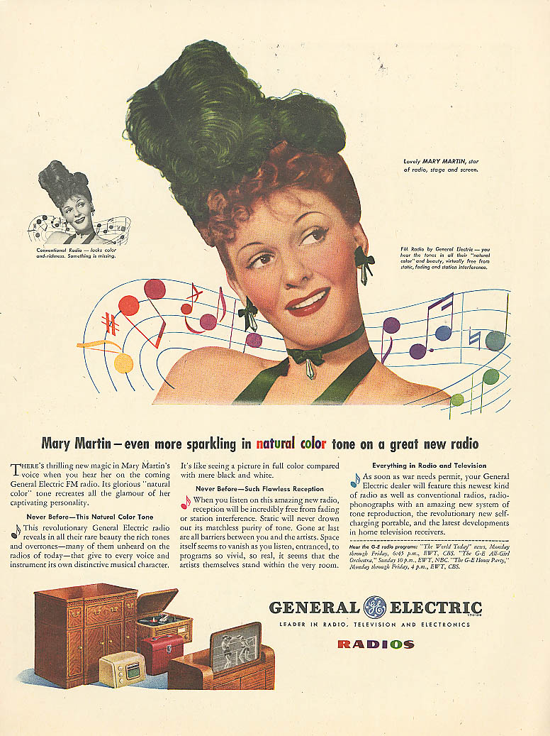 Image for Mary Martin for General Electric Radios ad 1945