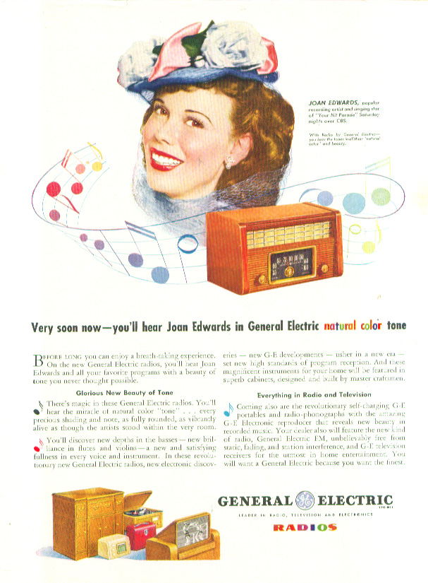 Image for Joan Edwards for General Electric Radios ad 1945