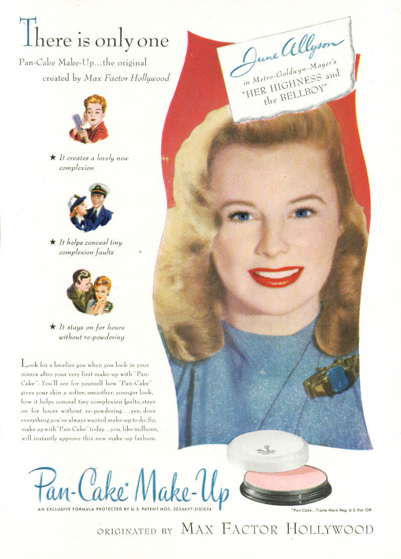 Image for June Allyson for Max Factor Pan-Cake Make-Up ad 1945