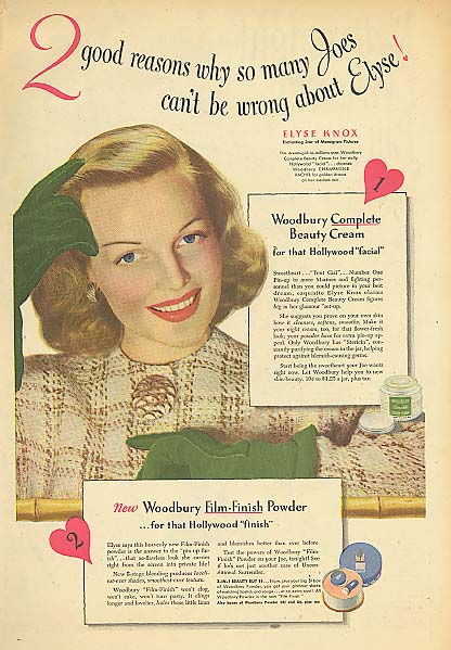 Image for Actress Elyse Knox for Woodbury Beauty Cream & Powder ad 1945