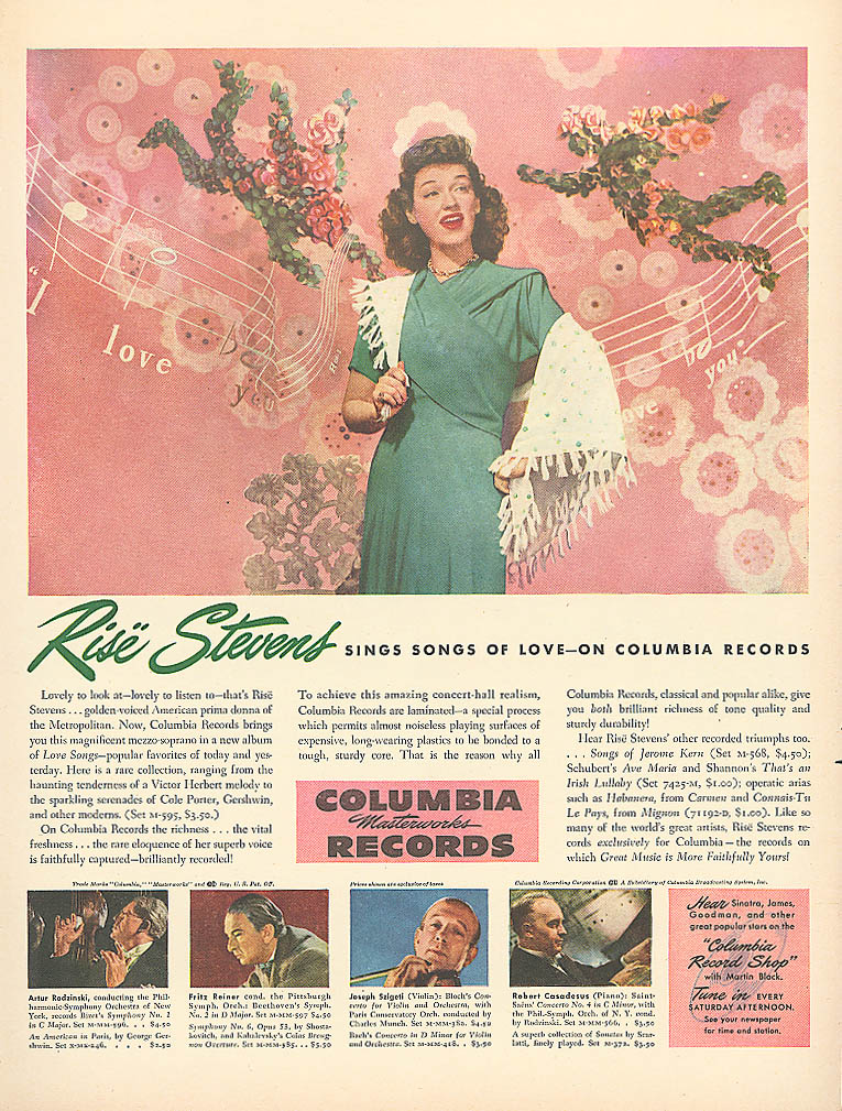 Image for Rise Stevens for Columbia Masterworks Records ad 1946