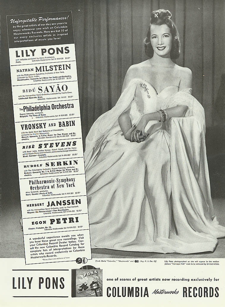 Image for Lily Pons for Columbia Masterworks Records ad 1946