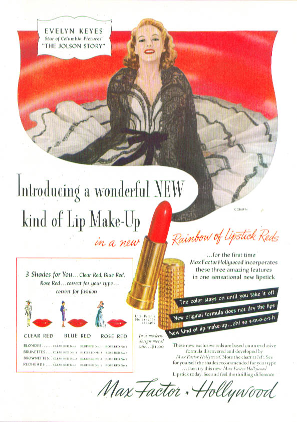 Image for Evelyn Keyes for Max Factor Hollywood Lipstick ad 1946 Charm