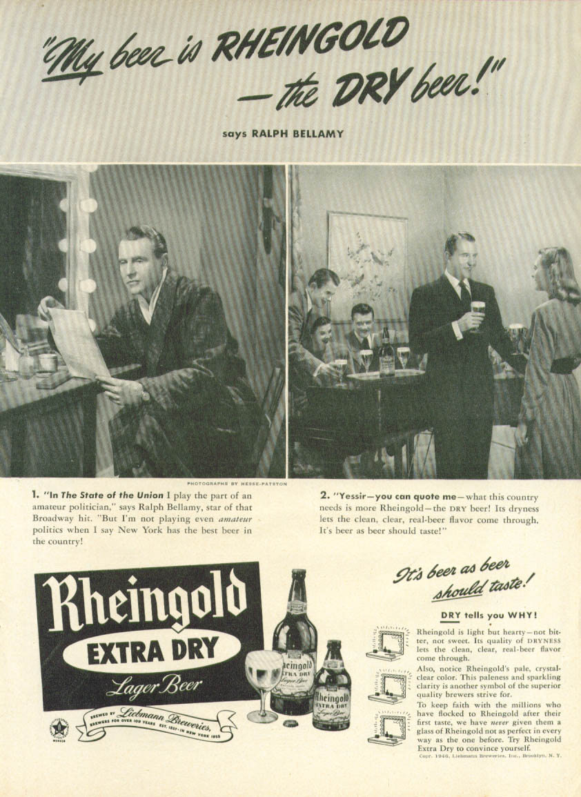 Image for Ralph Bellamy for Rheingold Extra Dry Beer ad 1946