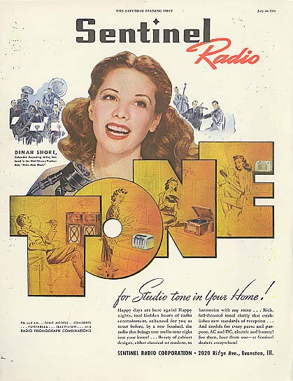 Image for Dinah Shore for Sentinel Radio Corporation ad 1946