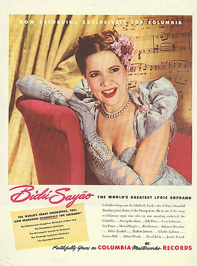 Image for Lyric Soprano Bidu Sayao for Columbia Masterworks Records ad 1946