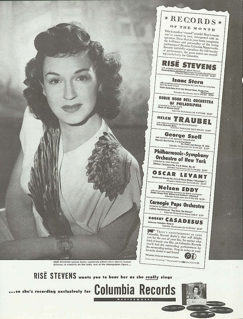 Image for Rise Stevens for Columbia Masterworks Records ad 1947