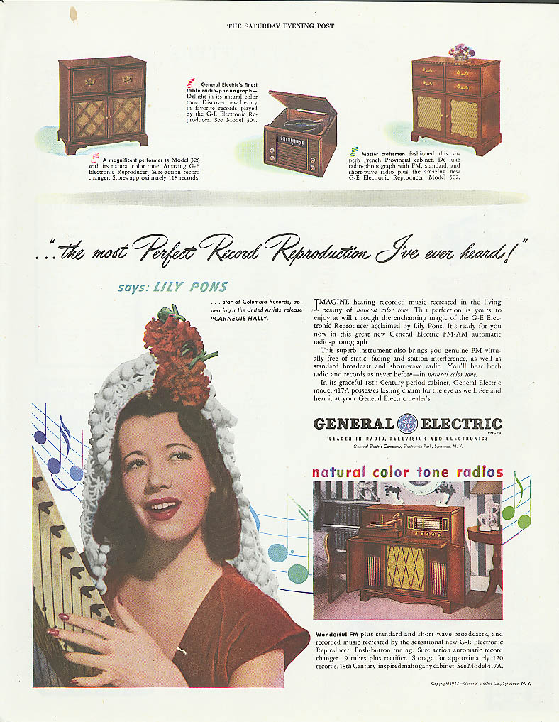 Image for Lily Pons for General Electric Radios ad 1947